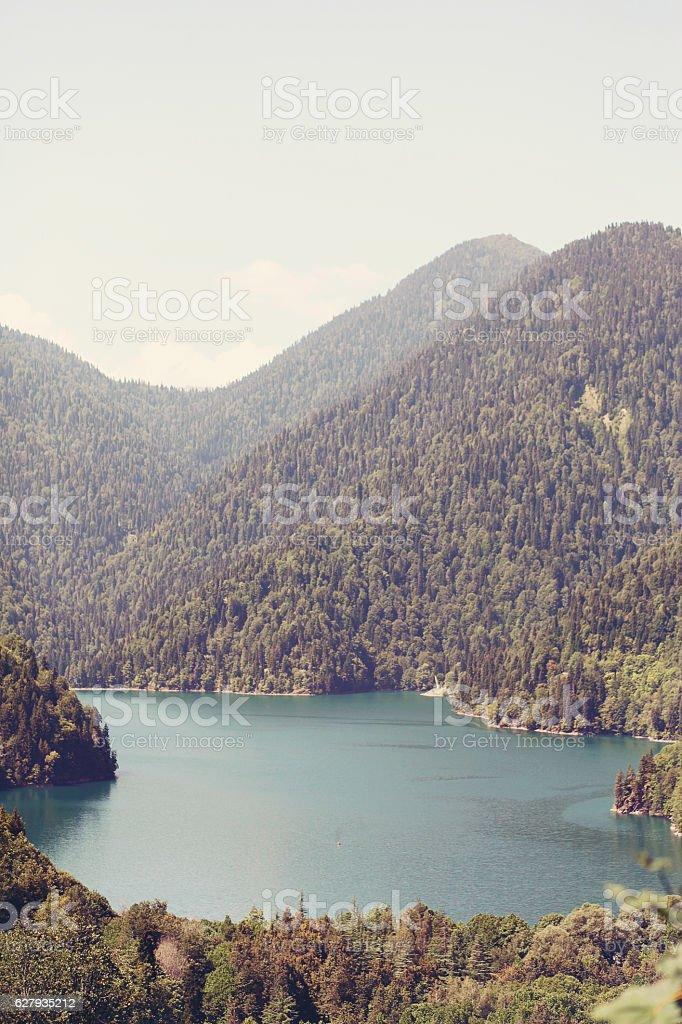 Lake Ritsa and the Caucasus mountains in Abkhazia stock photo
