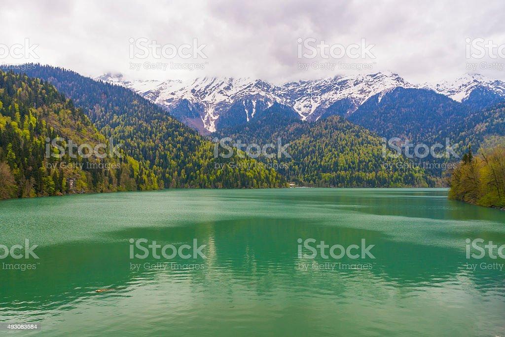 Lake Ritsa in Abkhazia stock photo