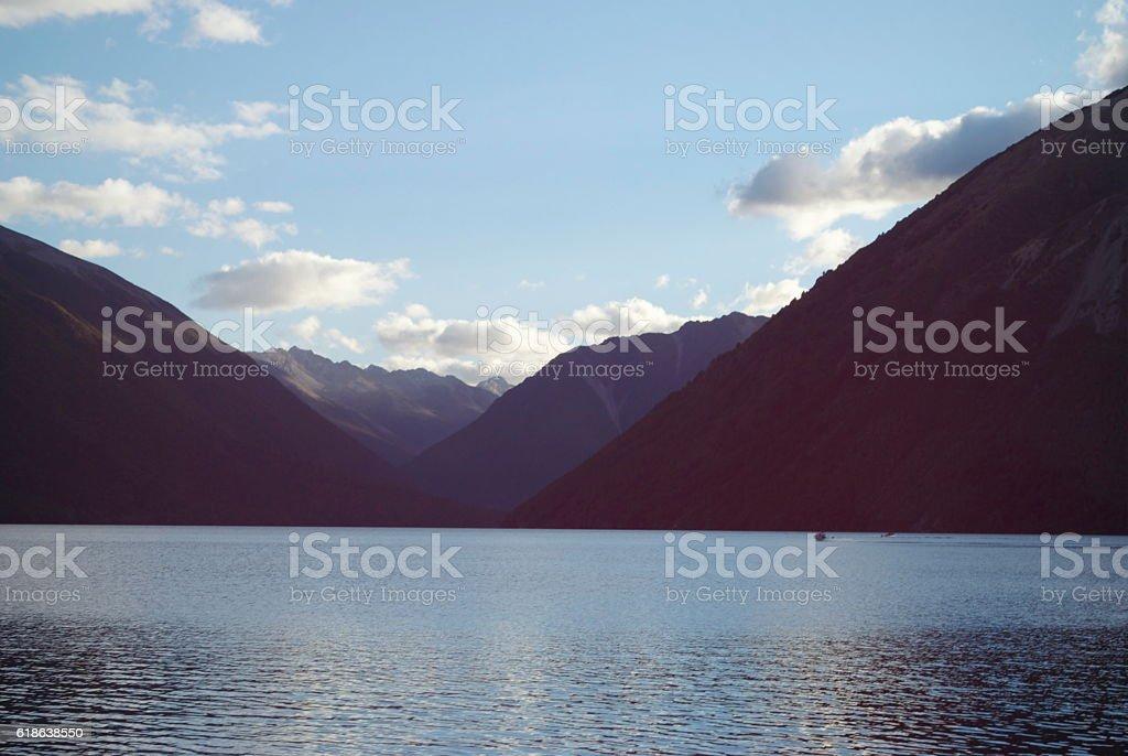 Lake Rotoiti by Dusk, Nelson Lakes National Park, NZ stock photo