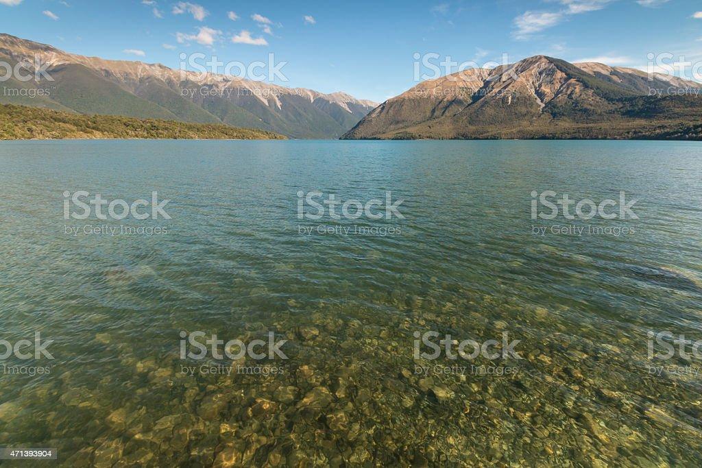 Lake Rotoiti in Nelson Lakes, New Zealand stock photo