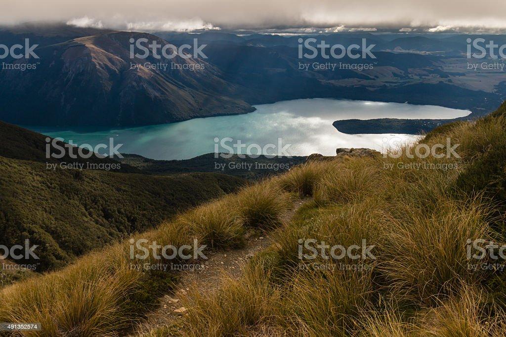 Lake Rotoiti in New Zealand at sunset stock photo