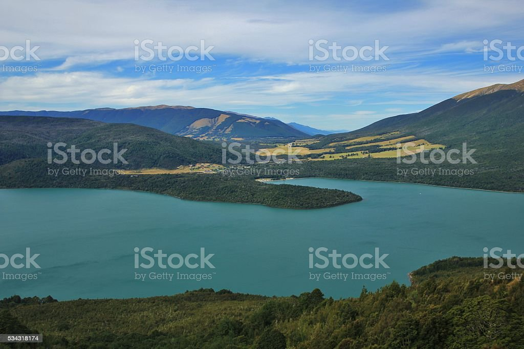 Lake Rotoiti, view from Mt Robert stock photo