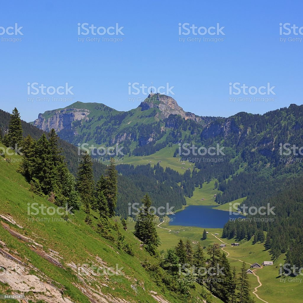 Lake Samtisersee and Mt Hoher Kasten stock photo