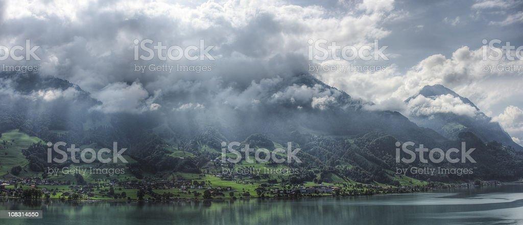 Lake Sarnen in Switzerland (XXL) stock photo