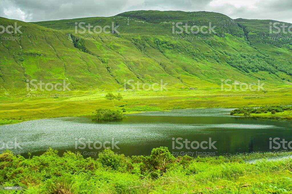 Lake scenery in the Scottish Highlands stock photo