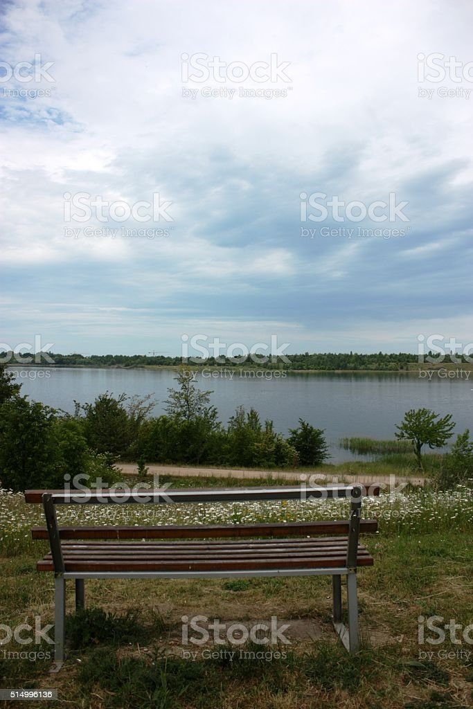 Lake Schladitzer See in summer, Germany stock photo