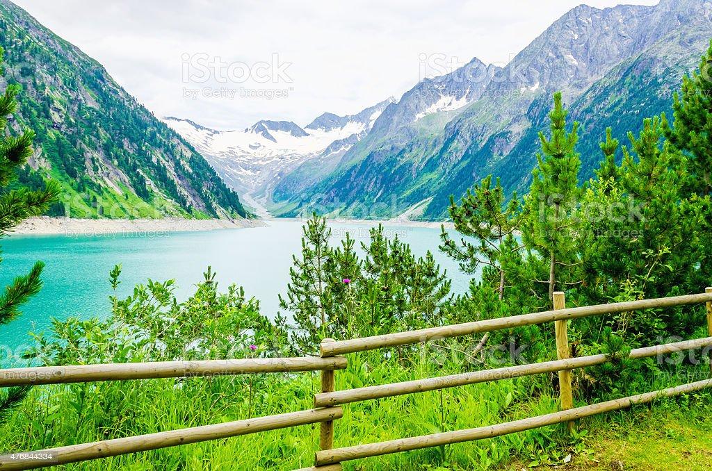 Lake Schlegeis, Zillertal Alps, Austria stock photo