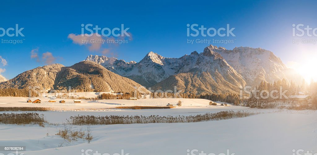 Lake Schmalensee, winter at Mittenwald in the alps of Bavaria stock photo