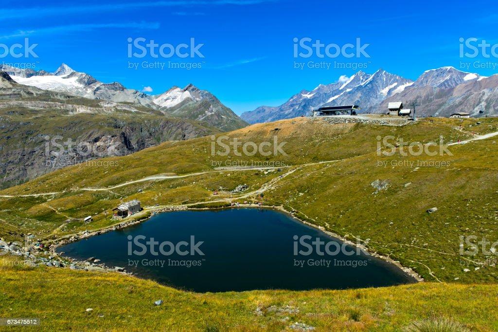 Lake Schwarzsee, Zermatt, Valais, Switzerland stock photo