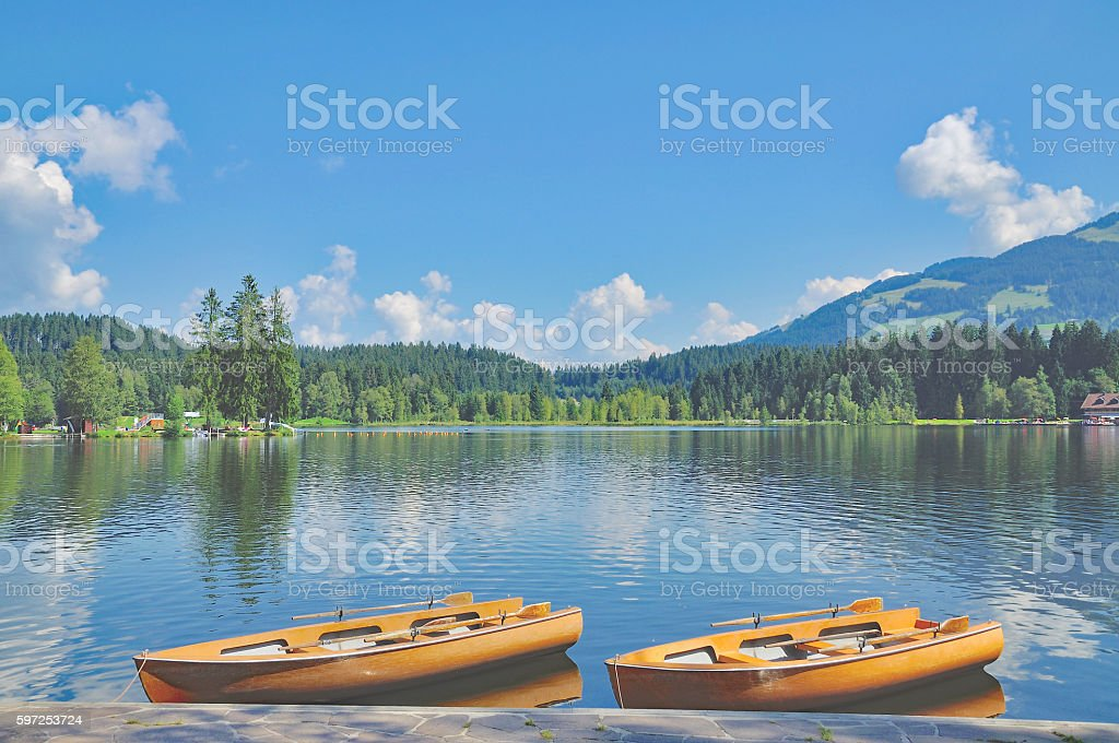 Lake Schwarzsee,Kitzbuehel,Tirol,Austria stock photo