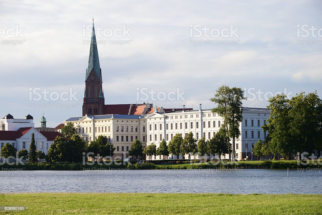 Lake 'Schweriner See' in the city of Schwerin, Germany stock photo