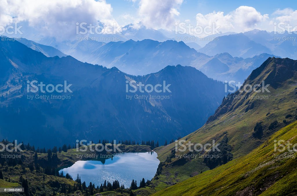 Lake Seealpsee in the Allgau Alps above of Oberstdorf, Germany. stock photo