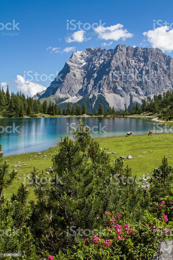 lake Seeeben and Zugspitze stock photo