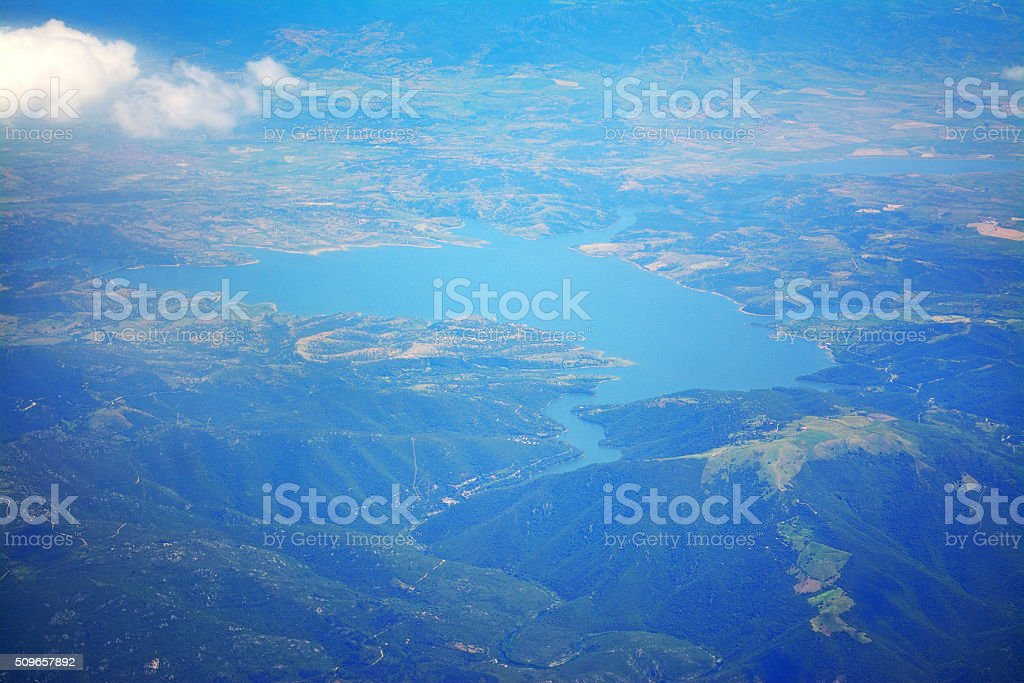 lake seen from above stock photo