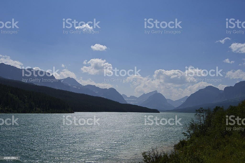 Lake Sherburne Turquoise stock photo