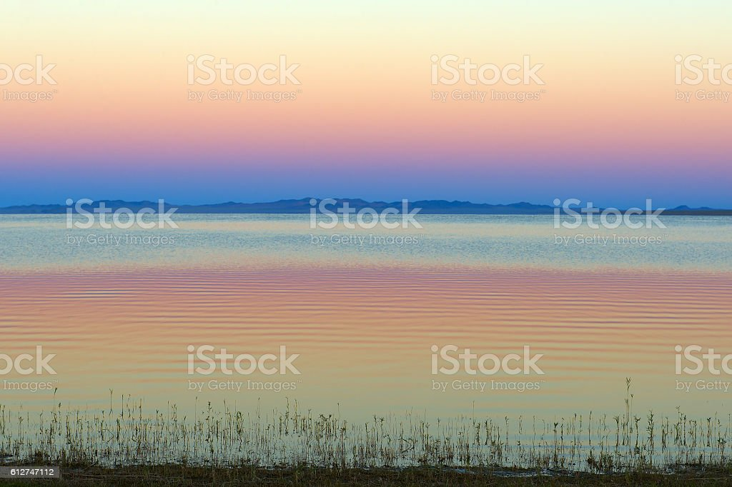 Lake shore, Central-Asian landscape stock photo