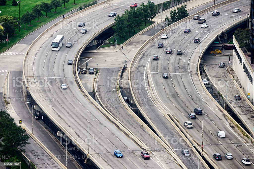 Lake Shore Drive from above, downtown Chicago stock photo