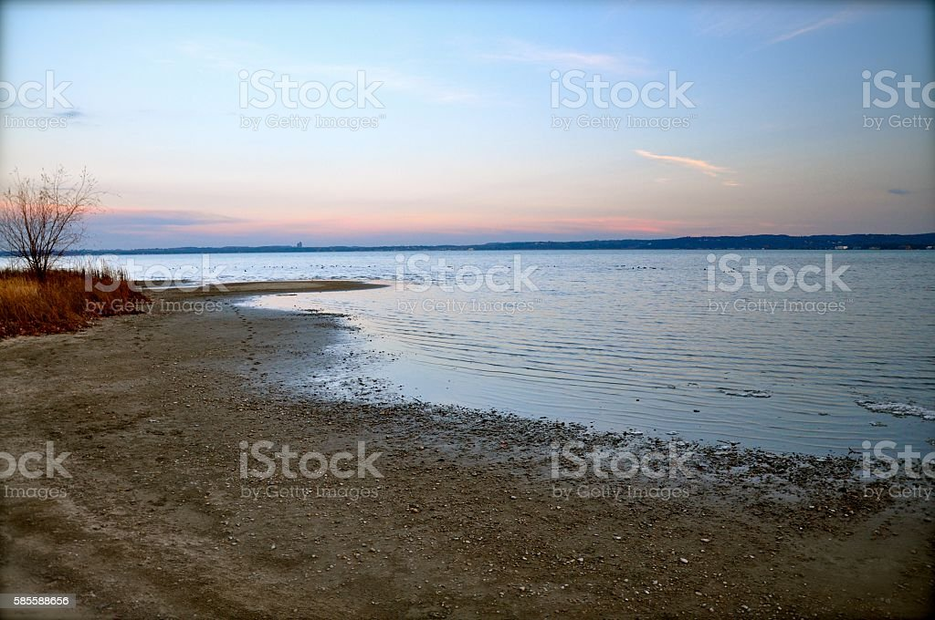 Lake shore in early Spring stock photo
