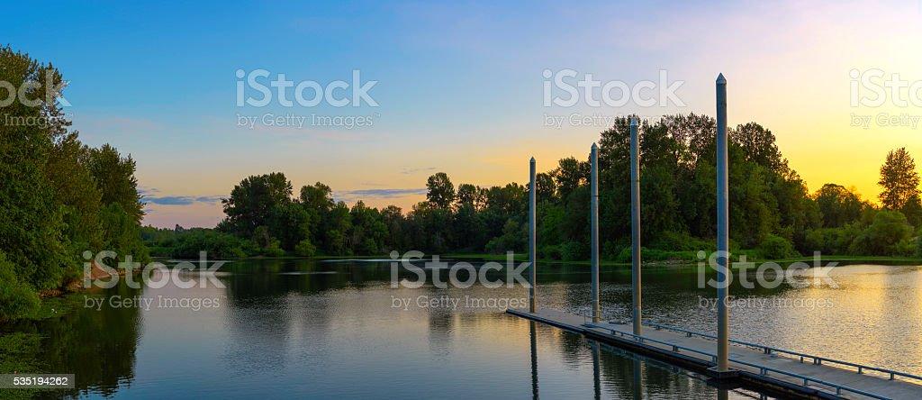 Lake Shore Panorama stock photo