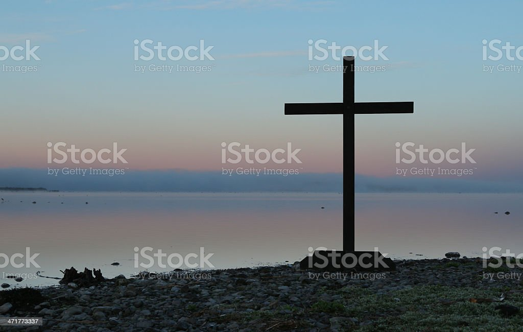 Lake Side Cross royalty-free stock photo