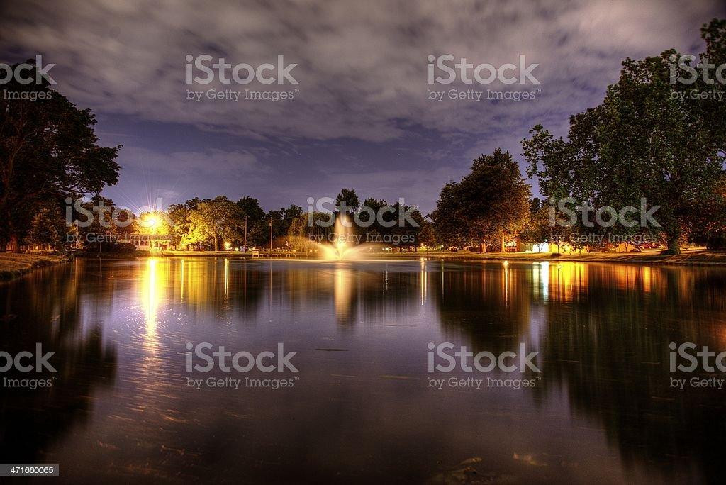 Lake Side Park, Fort Wayne, Indiana, Night Shot stock photo
