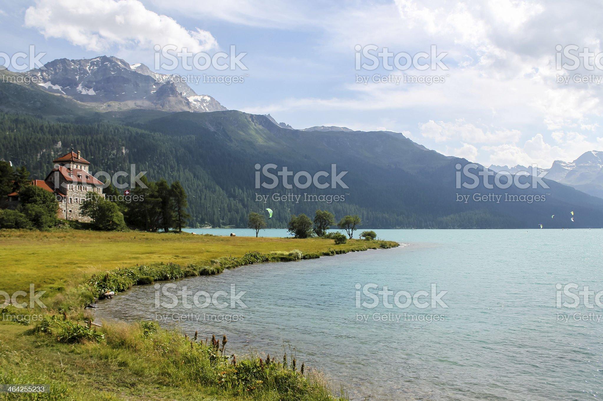 Lake Silvaplana in Switzerland royalty-free stock photo