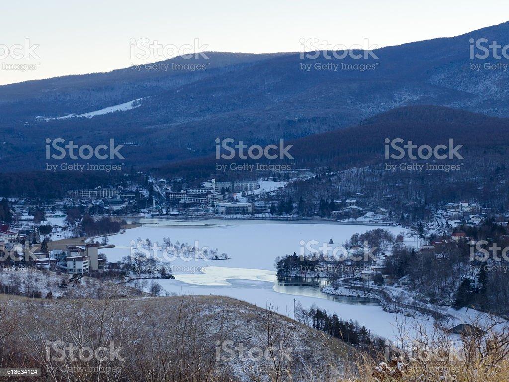 Lake Sirakaba in the winter early-morning stock photo