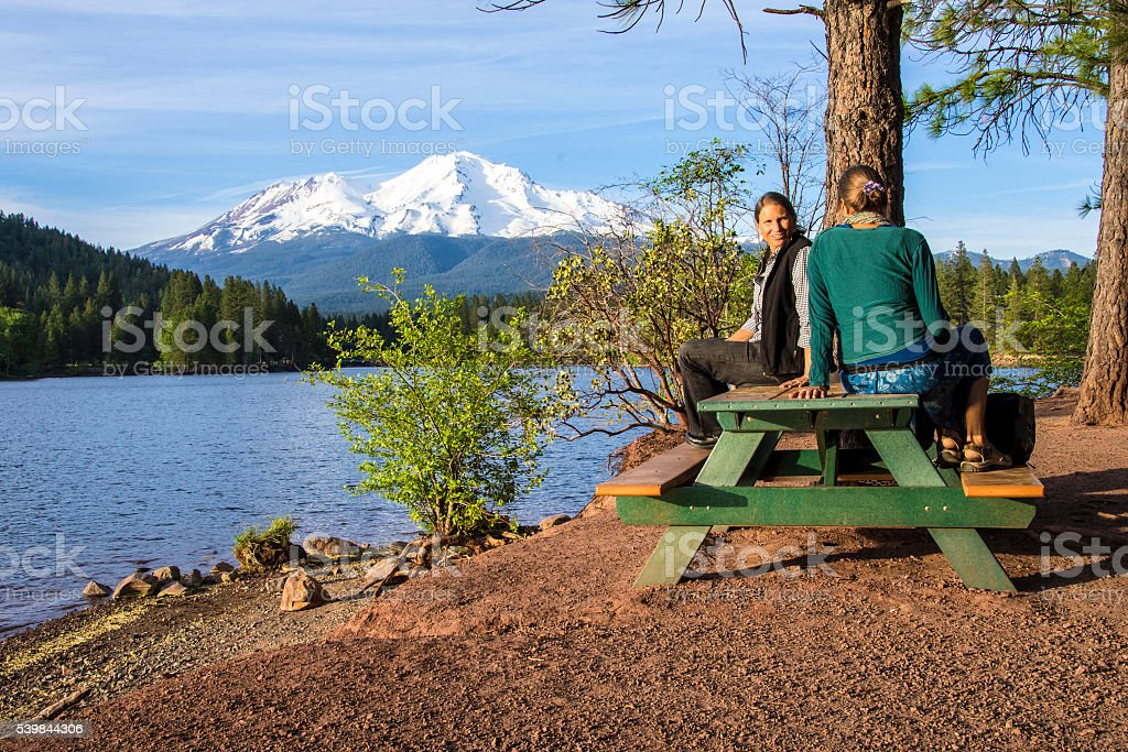 Lake Siskiyou and Mount Shasta stock photo