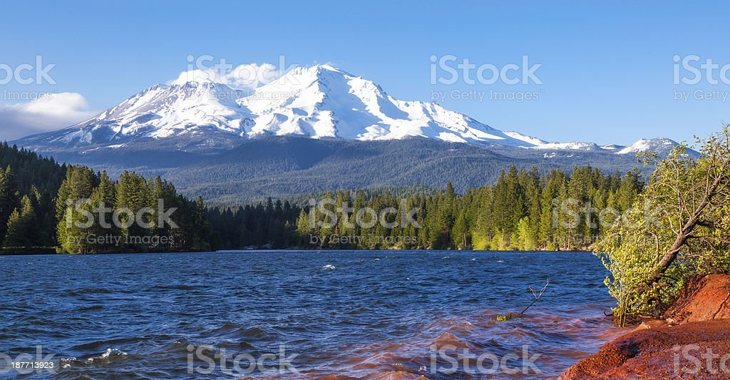 Lake Siskiyou and Mt Shasta panorama stock photo