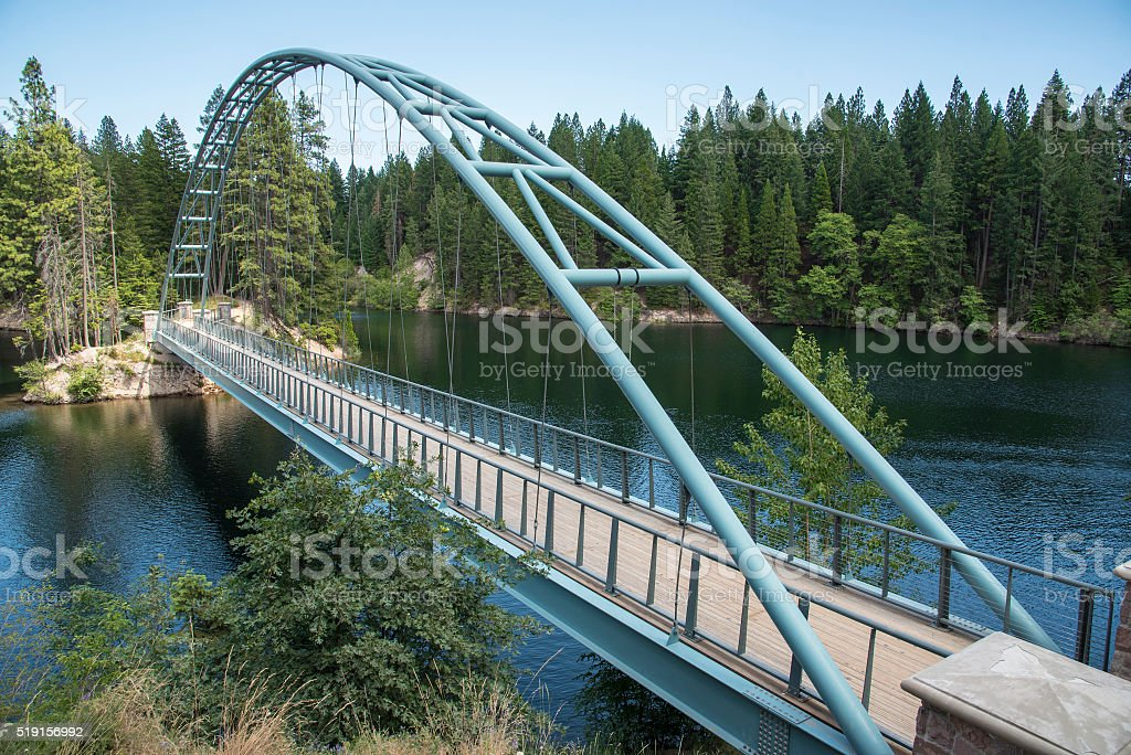 Lake Siskiyou Trail bridge stock photo