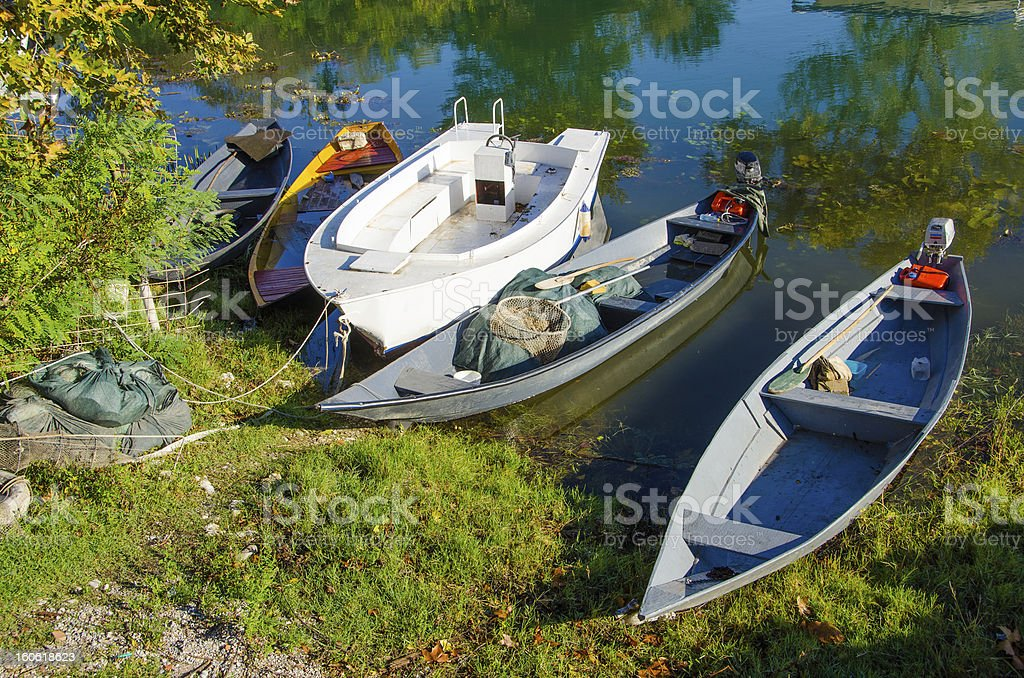 Lake Skadar, Montenegro, Europe - fishermen's boats stock photo