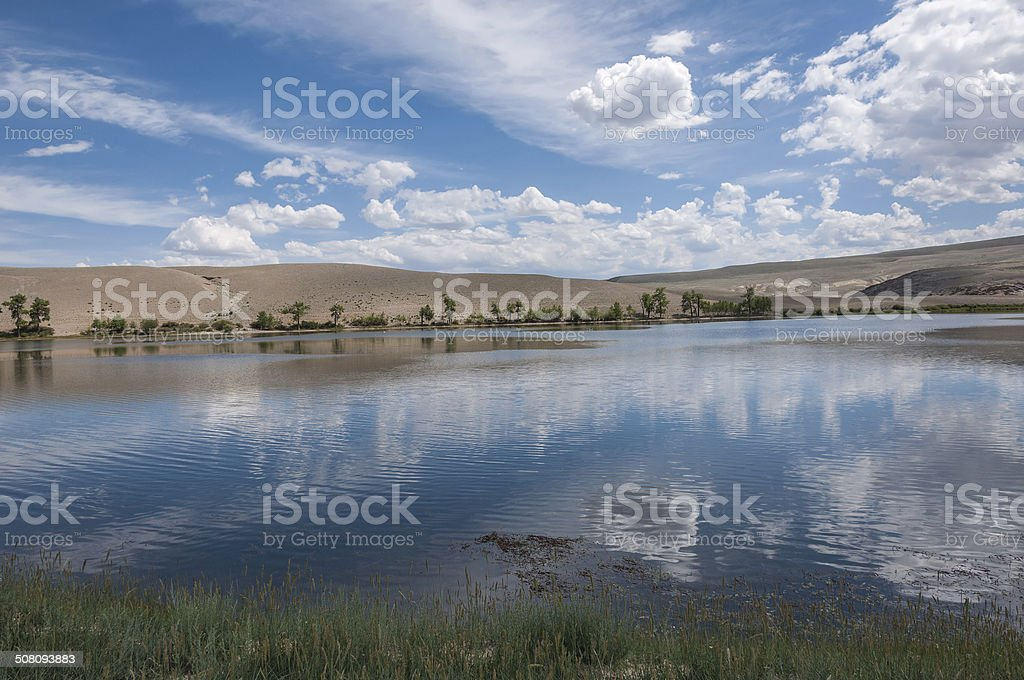 lake steppe sky clouds stock photo