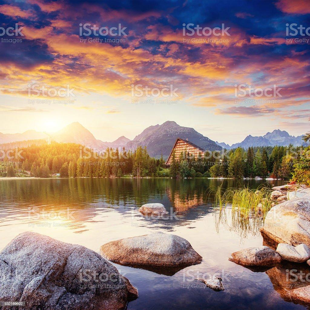 Lake Strbske pleso in High Tatras mountain, Slovakia, Europe stock photo