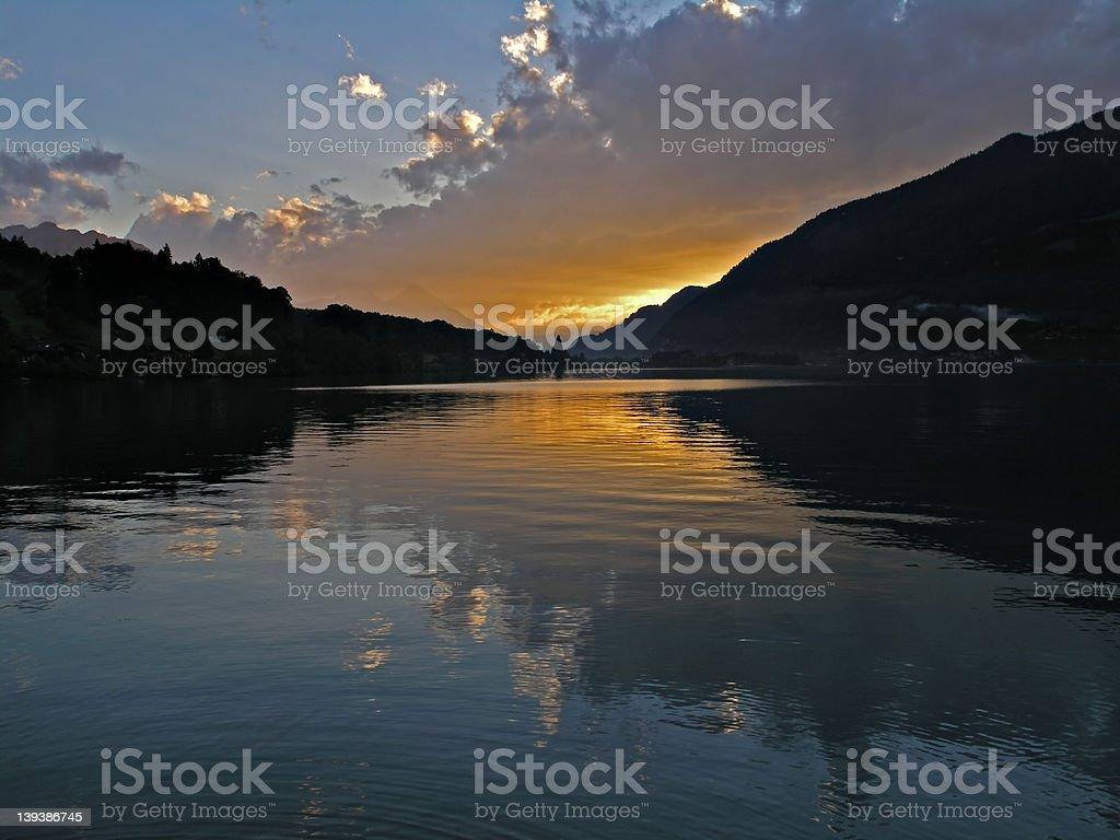 lake sunset in Interlaken stock photo