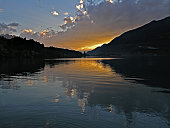lake sunset in Interlaken