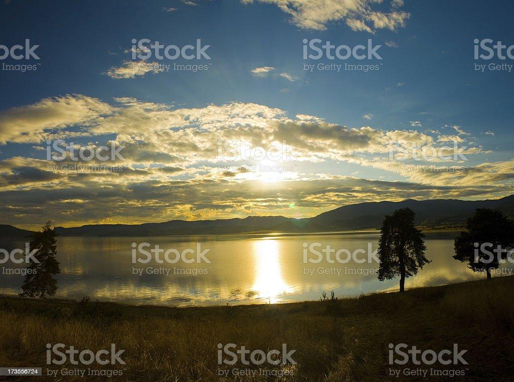 Lake Sunset Panorama royalty-free stock photo