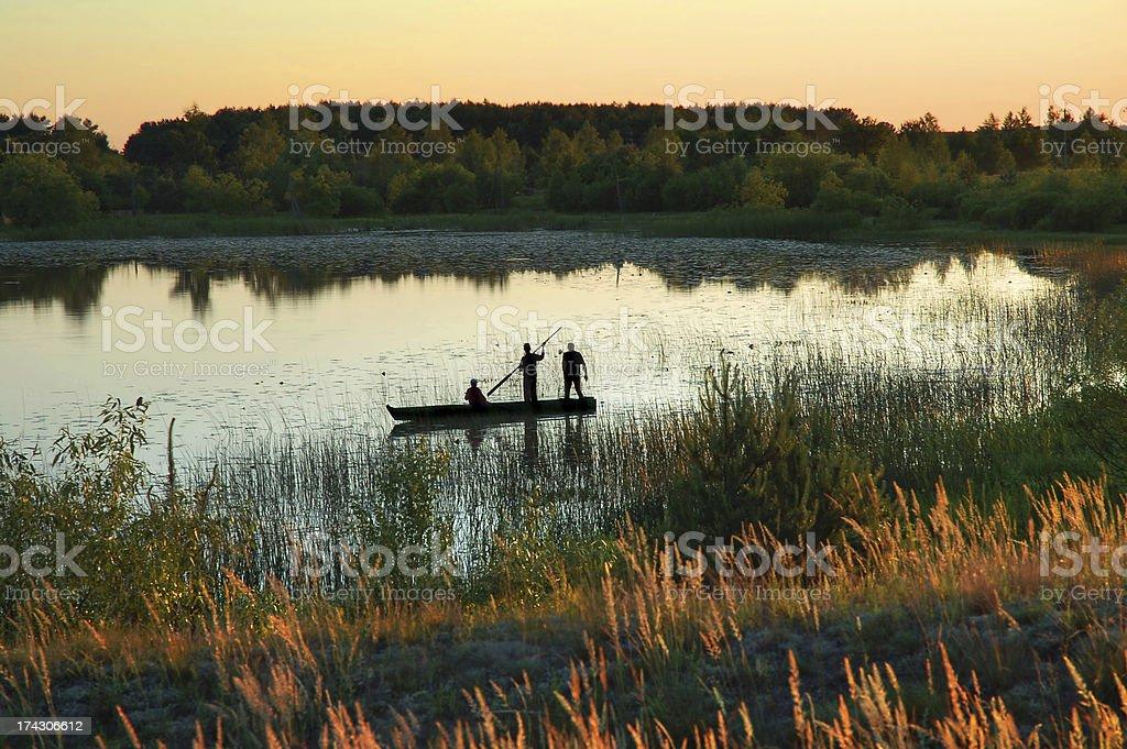 Lake sunset royalty-free stock photo