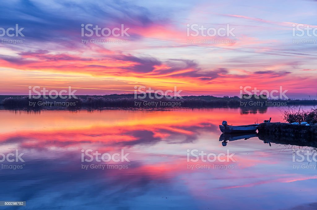 Lake sunset stock photo