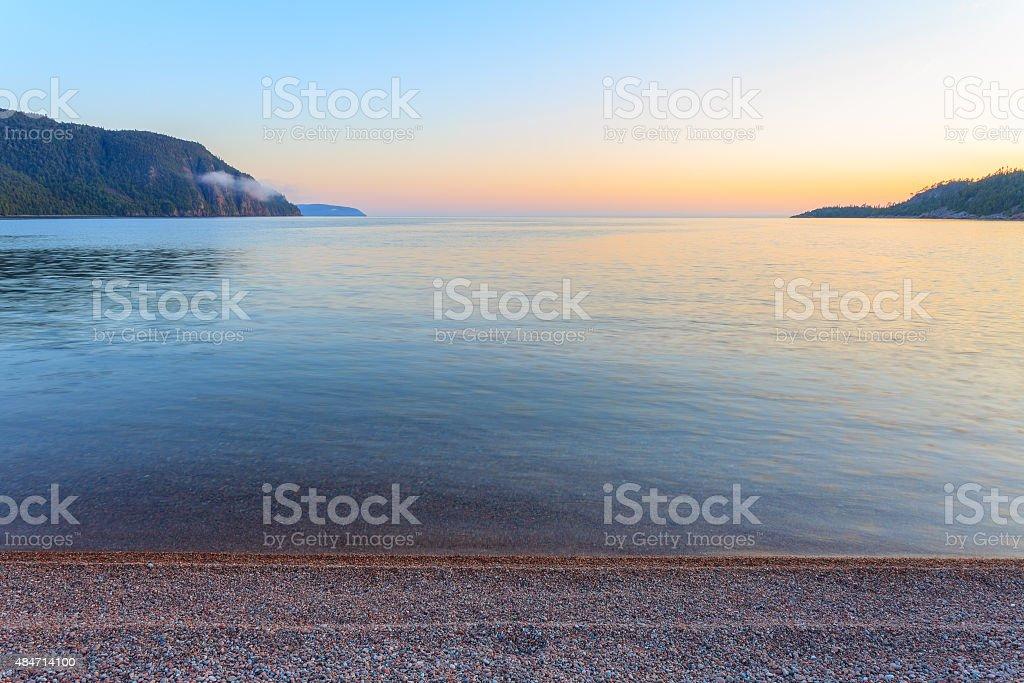 Lake Superior at Dusk stock photo