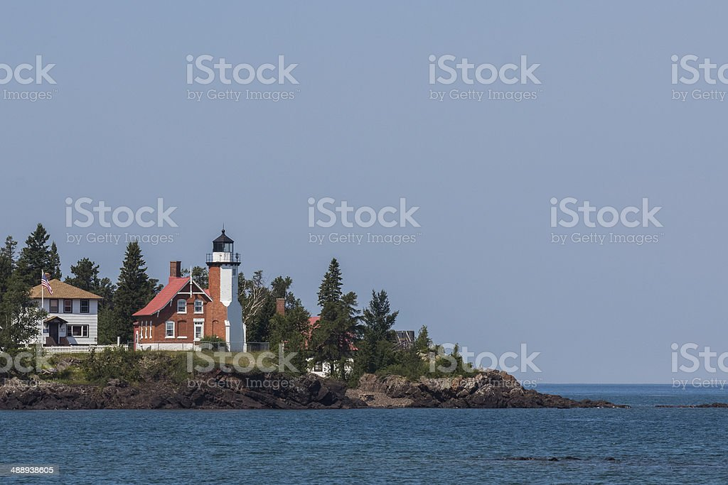 Lake Superior Lighthouse with Copy Space stock photo