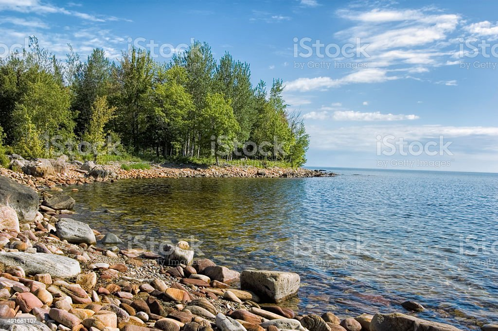 Lake Superior Rocky Inlet, Summer stock photo