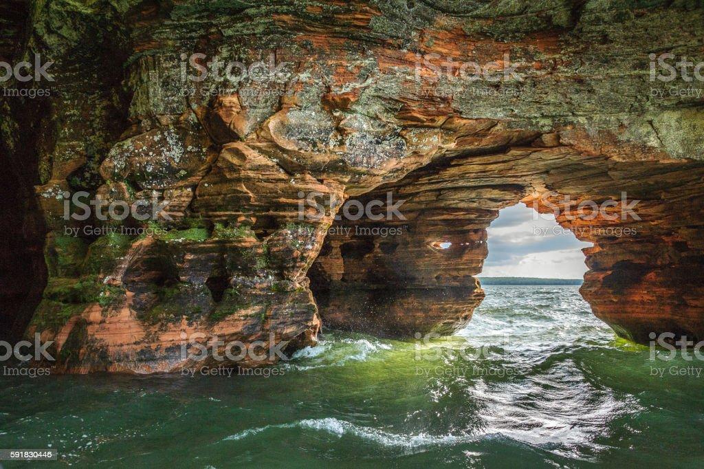 Lake Superior Sea Caves Dark stock photo