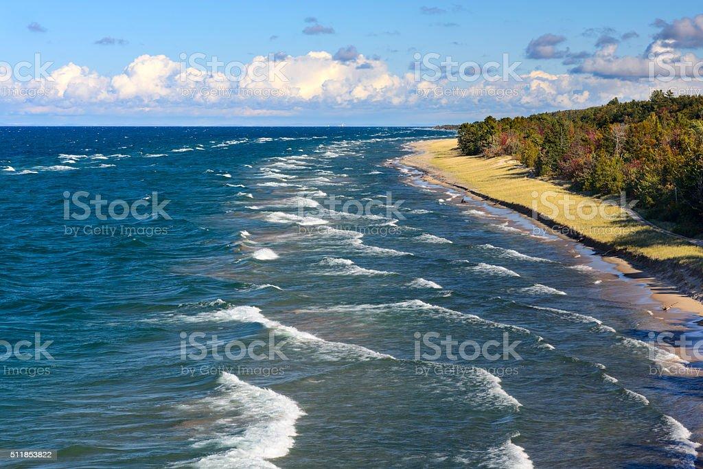 Lake Superior Shoreline From Above stock photo