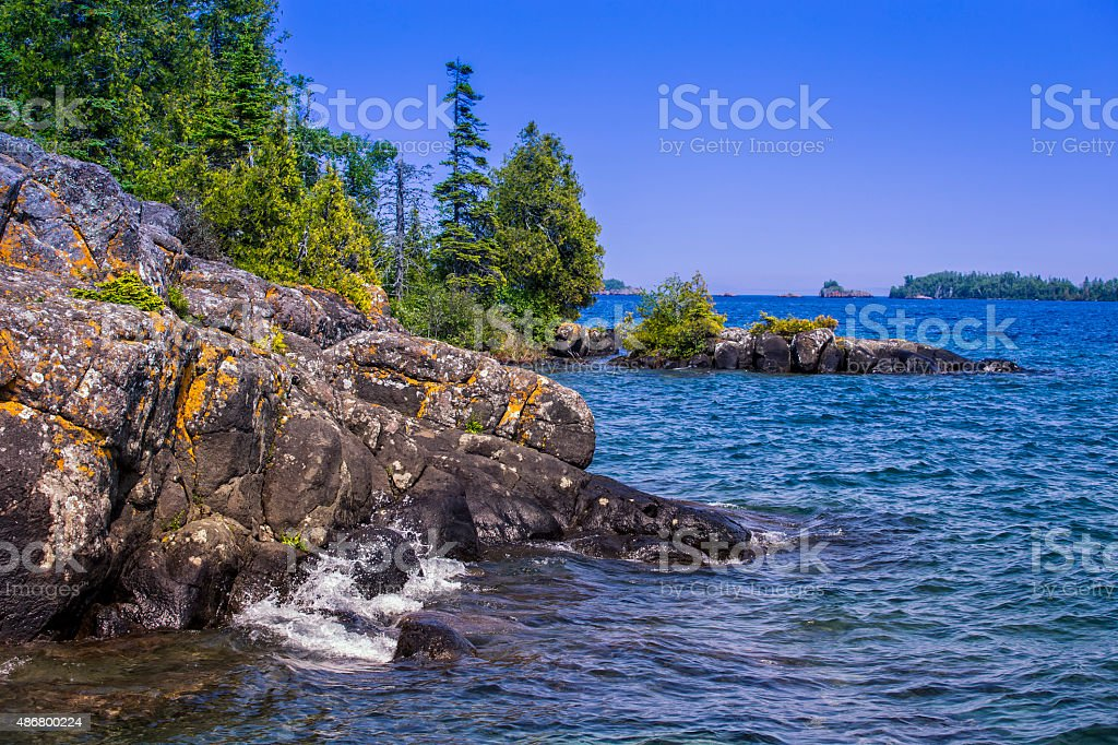 Lake Superior Shoreline, Isle Royale National Park, Michigan, USA. stock photo