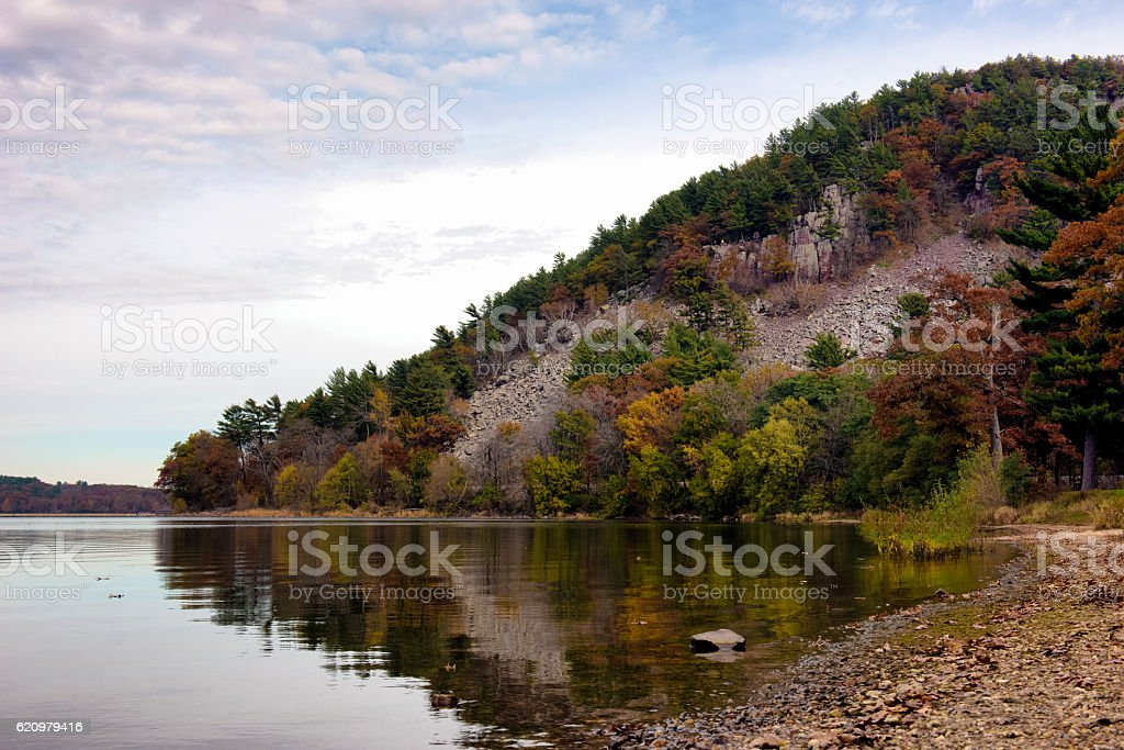 Lake surrouned by mountains stock photo