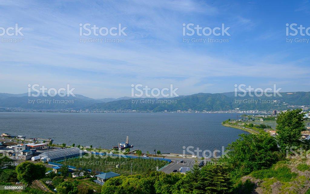 Lake Suwa and Landscape in Suwa, Nagano, Japan stock photo