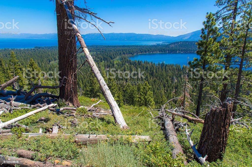 Lake Tahoe and Fallen Leaf Lake stock photo