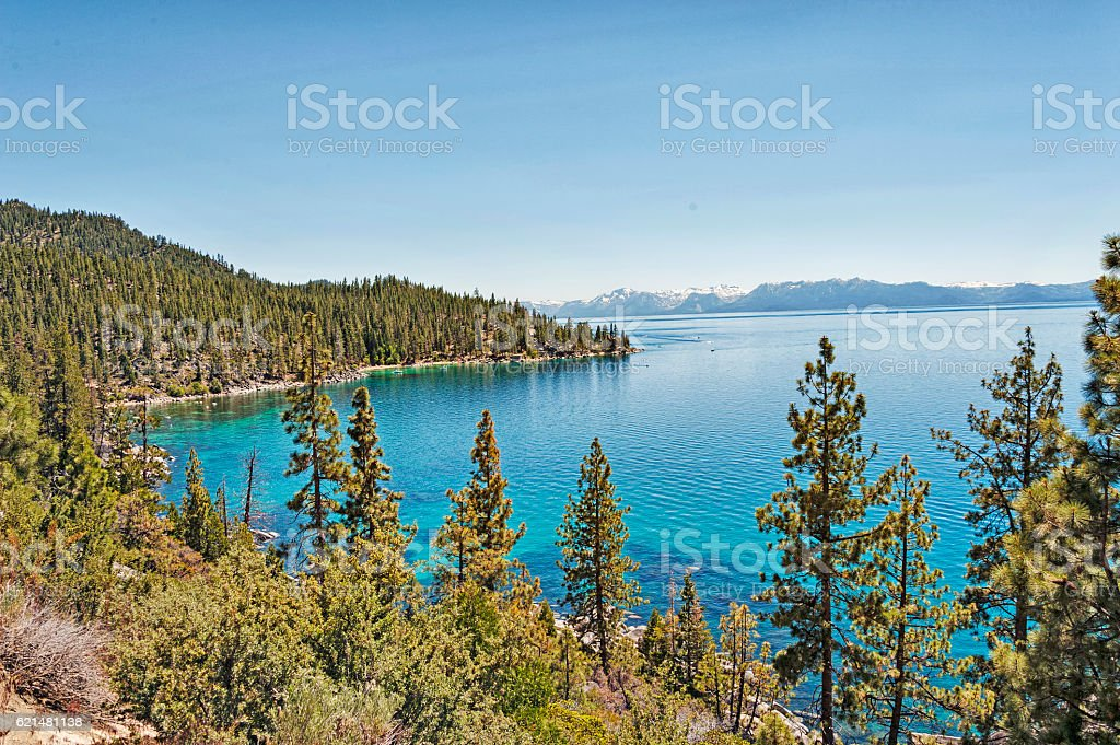 Lake Tahoe and Sierra Nevada Mountains with boat 1 stock photo