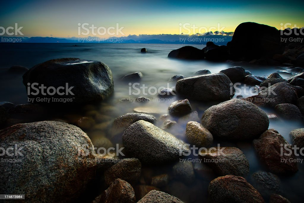 Lake Tahoe Dusk stock photo