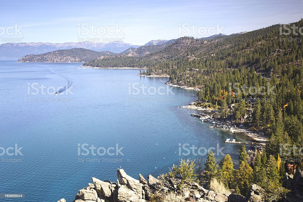 Lake Tahoe east shore from above stock photo